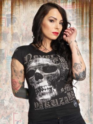 Футболка Yakuza893 DIAMOND SKULL V-NECK черная