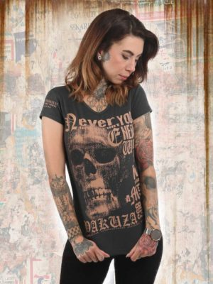 Футболка Yakuza893 DIAMOND SKULL V-NECK коричневая
